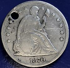 1870 CC Seated Liberty One Dollar Carson City Better Grade Holed RARE 5740