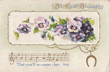 CK93. Vintage Greetings Postcard. All kind thoughts.Pansies and Music.