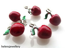 5 15MM ENAMEL APPLE CHARMS - ABSOLUTELY STUNNING - FREE FAST P&P