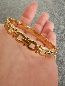 Solid 9ct Rolled Gold Hinged Bangle With Safety Chain