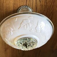 Vintage Ceiling Light Fixture Peach Pink & Clear Glass Ivy Leaves 2 Part Hanging