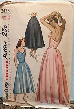 Vintage Original Simplicity #2423 1940s Slip In Two Lengths Petticoat Pattern