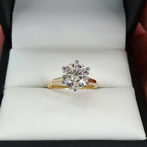 2.00 TCW Round Cut DVVS1 Moissanite Engagement Ring in Solid 14K Multi-Tone Gold