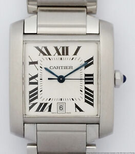 Cartier Tank Francaise 2302 Automatic Steel Date Large Mens Watch for Big Man