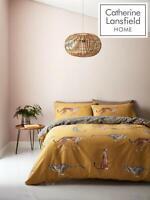 Catherine Lansfield Cheetah Easy Care Bedding Set Duvet Cover Reversible Ochre