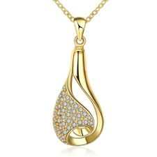 Drop Aaa Zirconia Lobster Clasp B138 Yellow Gold Plated Necklace Women's Pendant