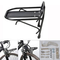 Durable Metal Black Bike Bicycle Front Rack Luggage Shelf Panniers Bracket New