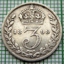 GREAT BRITAIN QUEEN VICTORIA 1899 3 PENCE THREEPENCE, SILVER