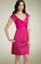 "Nanette Lepore Fuschia ""Hot Pink"" Ruched Bodice Satin Dress 10"