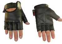 Unisex Fingerless Leather Motorcycle Motorbike Gloves Gym Gloves Biker-Medium