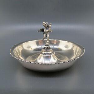 European Silver Ring Holder Dish w. Cherub or Angel