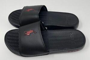NEW Polo Ralph Lauren Mens RODWELL Pony Logo Slide Sandals Black 12