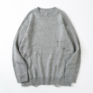 Men's Sweater New Loose Round Neck Trend Knitting Solid Color Comfortable Youth