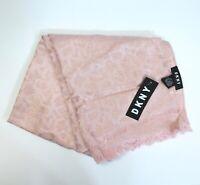 DKNY Allover Logo Shine Soft Lightweight Scarf Blush
