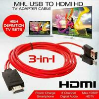 Cell Phone For Samsung Android Micro USB to HDMI MHL Cable 1080P TV Adapter V3I4