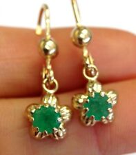 1.30CT  Glowing Green Colombian Emerald 14K Yellow Gold Dangle Flower Earrings