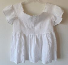 AE American Eagle Womens XL Off the Shoulder Gathered S/S White Top Shirt New