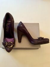 BRONX DARK PURPLE BUCKLE & STUD TRIM LEATHER HEELS SIZE 4/37