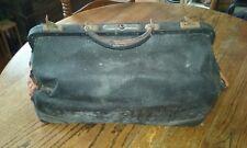 Vtg Black Leather Doctor Medical Bag Case House Call Travel Satchel Steam Punk