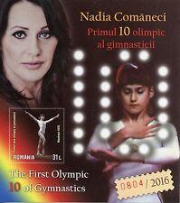 Rumania 2016 estampillada sin montar o nunca montada Nadia Comaneci 1st 10 Gimnasia 1v IMPERF m/s sellos de los Juegos Olímpicos