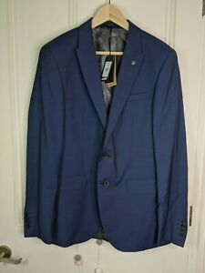 JAEGER mens suit jacket blazer 40R 100% wool fabric by Marzotto blue slim fit