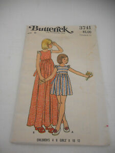 Vintage 1970s Girls Size 6 Butterick 3741 dress sewing pattern