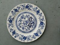"VTG Myott Meakin Blue Onion Floral Round Scalloped 10"" Dinner Plate England"