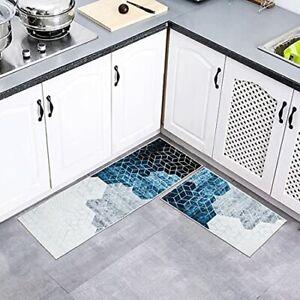 2 Pieces Kitchen Rug Set Non-Slip Microfiber Kitchen Mat, Washable Runner Rug