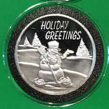 Holiday Greetings Merry Christmas Snowman 1 Troy Oz .999 Fine Silver Round Coin