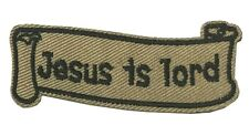 Jesus Is Lord Embroidered Patch Iron-On / Sew-On Christian Biker Motif Applique