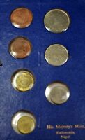 1956 Nepal Coronation His Majesty's Mint Uncirculated 7 Coin Set Light Blue Case