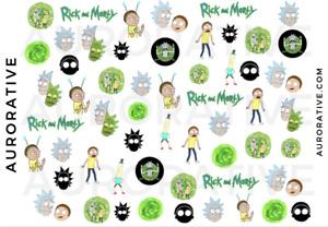 Nail Decals Art Water Transfer Sticker Wraps Custom Waterslide Rick Morty Green