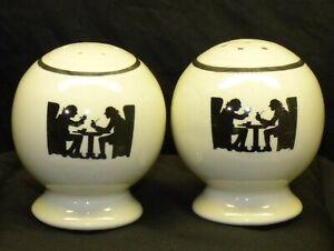 Vintage Hall China Silhouette Pattern Tavern Scene Salt & Pepper Shaker Set