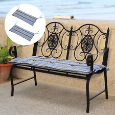 Outsunny 2 PCS Patio Bench Chairs Garden Chairs 2 Seat Cushion Mat Strips Blue