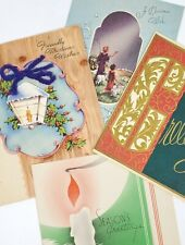 4 Unused Vintage CHRISTMAS Greeting Cards Yarn Bow Embossed 3D Accent 1940's