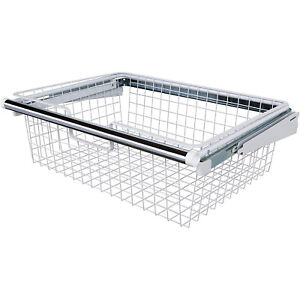 Rubbermaid Metal Wire Sliding Storage Basket for Closet Organizer Kits, White