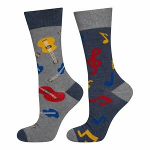 Mens Music Note And Guitar Socks (Pair) Fun Novelty Socks