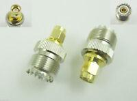 2x UHF SO-239 Female Jack to SMA Male Plug Straight RF Adapter Connector