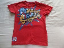 Next Boys Red Short Sleeve T-Shirt 100% Cotton Size 2-3 Years