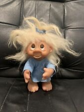 """More details for vintage 1985 dam 10"""" troll doll in blue dress & with blue bow htf"""
