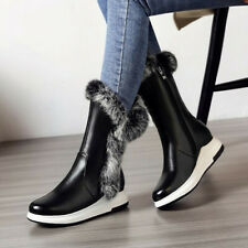 Fashion Womens Winter Snow Boots Fur Trim Ankle Boots Creeper Casual Warm Shoes
