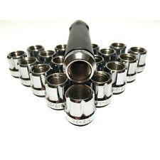 "20 Open End 6 Spline Lug Nuts Tuner Style 1/2""x20 Chrome Bulge 1/2x20 + Key Ford"