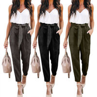Women High Waist Casual Drawstring Long Pants Velvet Pencil Trousers With Pocket