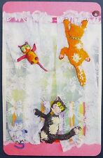 SWAP CARD. NAUGHTY CATS IN CURTAINS. c2013 CATS BY KEZ. FUN.RARE.PINK BLANK BACK