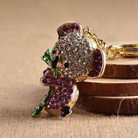 Rhinestone Pendant Chain Charm Gift Jewelry Keyring Crystal Koala Bear Purple