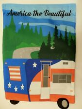 """""""America the Beautiful"""" Travel Camper, Road, Forest, on Burlap -look Garden flag"""