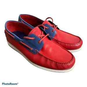 Cole Haan Mens Cornell 2 Eye Boat Shoes Red Blue Color Block Moc Toe Leather 12M