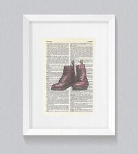 DR Marten stivali rosso ciliegia VINTAGE Dizionario Libro Stampa Wall Art