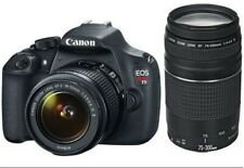 Cámara SLR Canon EOS Rebel T5 Digital EF-S 18-55mm + 75-300mm f/4-5.6 EF IS II