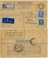 GB REGISTERED STATIONERY to N.RHODESIA 1946 MAIDA HILL AIRMAIL to KITWE